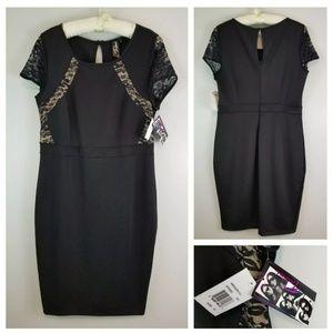 NWT Trixxi 18 Black Keyhole Back Cap Sleeve Dress